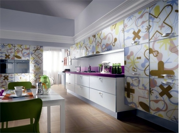 Wonderful modern kitchens furniture made of glass by Scavolini
