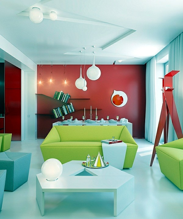 red and white style interior living room design | Modern living room design – bright, contrasting colors ...