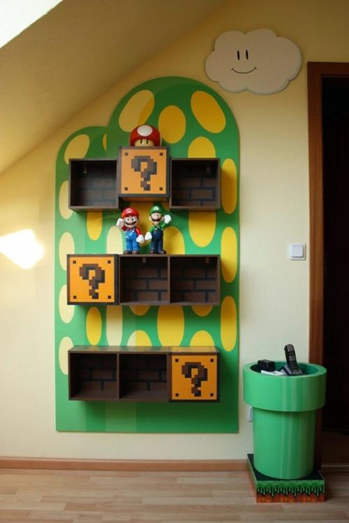 Kinderzimmer - Bookshelves inspired in the children of Super Mario