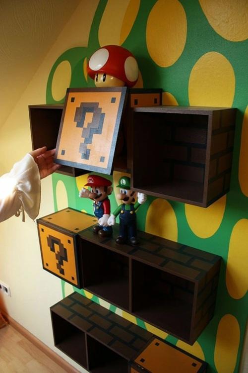 Bookshelves inspired in the children of Super Mario