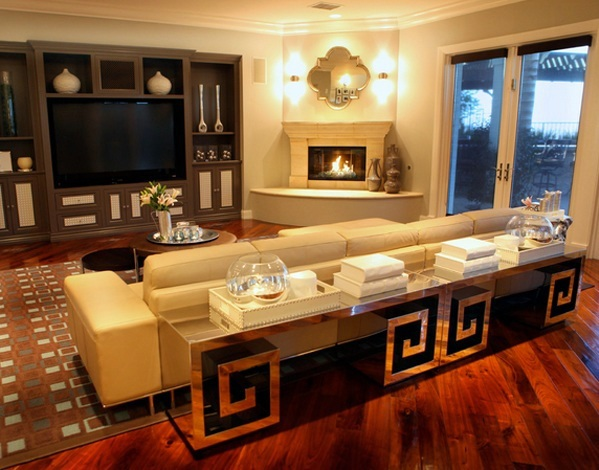 Modern living room furniture with mirror surface