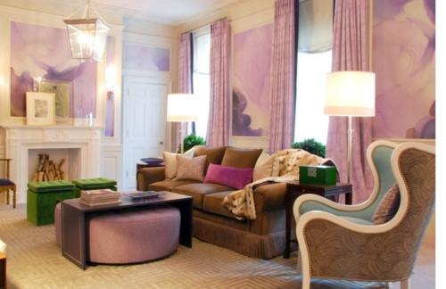 Stylish purple living room interior