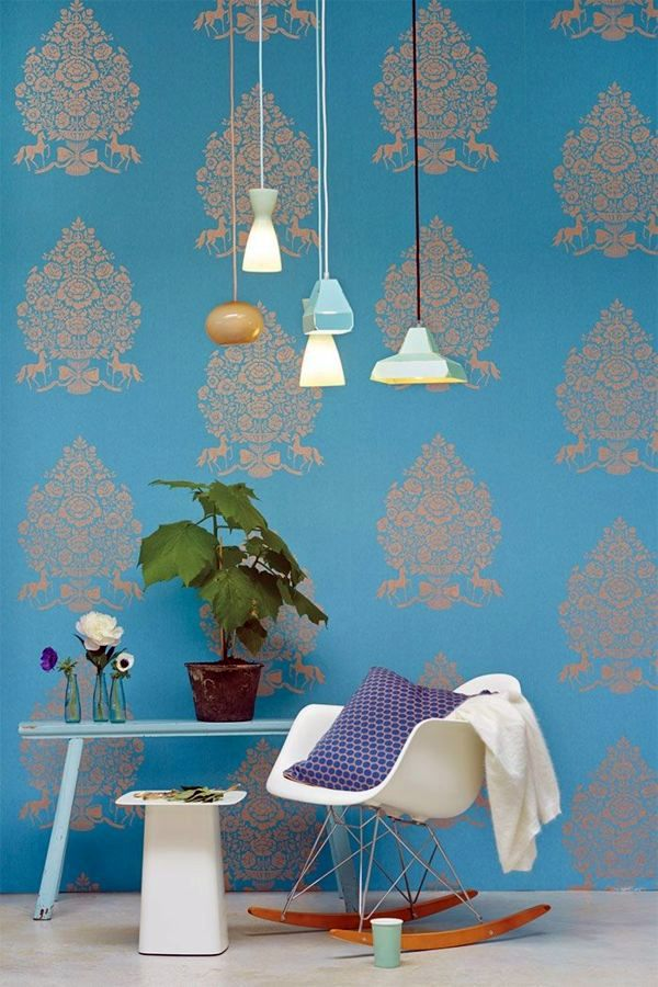 Wandgestaltung - Blue Wallpaper - the perfect Piped in each room