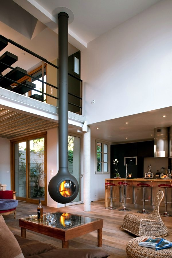 20 design ideas for hanging stove in modern house ...